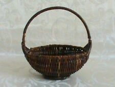 "Miniature Woven Wicker 5 1/4"" Basket With Handle"
