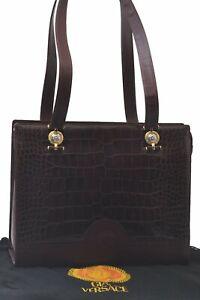 Authentic GIANNI VERSACE Leather Shoulder Tote Bag Bordeaux C5789