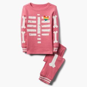 NWT Gymboree Skeleton Gymmies Pajama Girl Glow in the Dark 2018 Pink Halloween