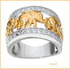 Beautiful Ring Silver and Gold with Glass and Elephants