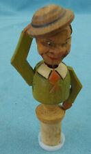Vintage Hand Carved Painted Wooden Bottle Stopper Pull String & He Tips His Hat