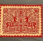 Antique Redwork Cutwork Pillow Sham Reindeer Unknown Provenance
