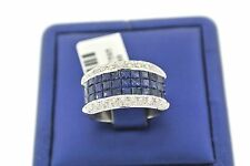 14k White Gold Invisible Setting 3.00 CT Diamond & Sapphire Ladies Band,S102598
