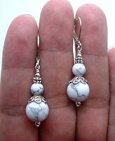 Fashion Handmade white Turquoise Beads silver Plated Dangle Earrings