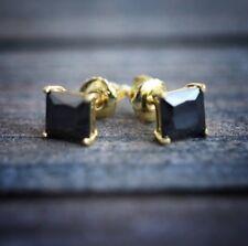 18K Yellow Gold 3.50 ctw Black Lab Diamond Earrings Princess Cut 4 Prong 10mm