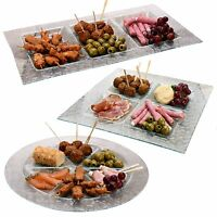 Large Glass Serving Plate Tray Dish Platter Bowl Condiment Tapas Meat Sushi Fish