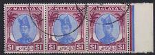 Malaya TRENGGANU 1949 3 x $1 Bleu & Violet Sultan Ismail SG 85 utilisé R marge