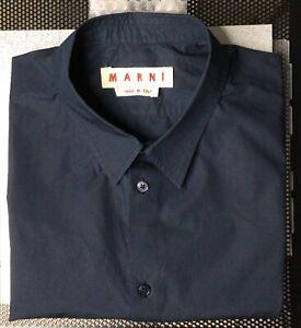 MARNI: Men's Size L - 52 (17.5) Long Sleeve Dark Blue Shirt Made in Italy