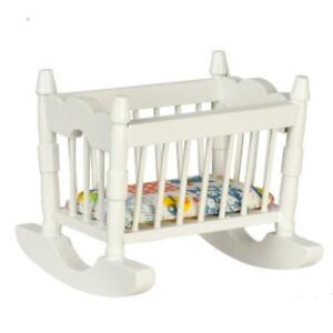 Dolls House White Wood Rocking Cradle Crib Cot Miniature Nursery Furniture
