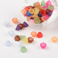 100pcs Transparent Frosted Acrylic Flower Bead Caps Colorful Jewelry Making 10mm