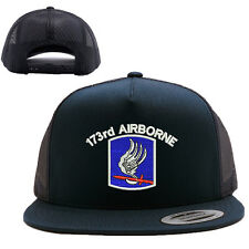 173RD AIRBORNE SCREAMING EAGLE MESH TRUCKER SNAP CLOSURE CAP HAT BLACK