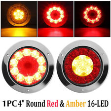 """1X 4"""" Round Red/Amber 16-LED Truck Trailer Brake Stop Turn Signal Tail Lights ZB"""