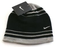 Nike Swoosh Black & Gray Knit Beanie Skull Cap Youth Boy's 8-20 NWT