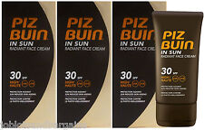 3 x 40ml Piz Buin In Sun Radiant Face Cream SPF 30 HIGH UVA UVB Facial Sun Cream