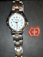 WENGER SWISS ARMY WHITE DIAL TWO-TONE STAINLESS STEEL WATCH COMES W BOX KNIFE