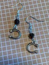 """Brighton HORSESHOE Bronze Amber Beads Custom Earrings Sparkle 1.5"""""""