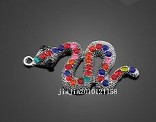 PJ915 1pc Retro Tibetan Silver Color crystal snake Jewelry Accessories wholesale