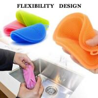 Multi-function Silicone Scrubber Sponge Brush Dish Kitchen Cleaning Washing C7X1
