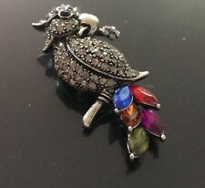 """Marcasite & Crystal Parrot Brooch with Bold Multicolor Crystal Tail Feathers 3"""""""