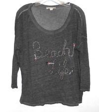 Women's White + Warren 'Beach Life' Gray Tee Small 100% Linen Casual Wear Sporty