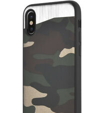 for iPhone X - Magnetic Backplate CAMO Green Army TPU Rubber Gummy Case Cover