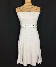 White House Black Market Dress Sm Heather Gray Strapless Empire Bead Flare Bra