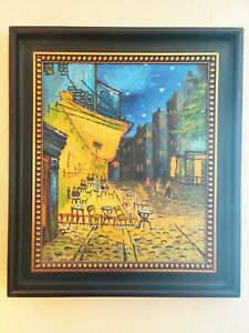 """Vincent Van Gogh Cafe Terrace at Night Framed Hand Painted Reproduction 27""""x31"""""""