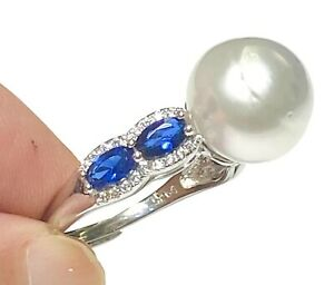 Gorgeous 11.85mm White Australian South Sea Cultured Round Pearl Ring Size 8