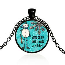 Cabochon Black Glass Chain Pendant Necklace Some of my best friends are flakes