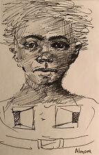 Study Pencil  Drawing- 4x6 Original Fine Art- By Osmel Almora-Signed
