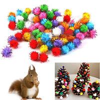21/100X Glitter Lametta Pom Pom Bälle kleine Pom Pom Ball Katze Welpen Spielzeug