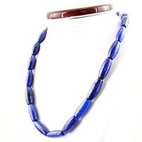 475.40 CTS NATURAL BLUE LAPIS LAZULI UNTREATED BEADS SINGLE STRAND NECKLACE (RS)