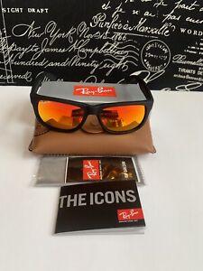 Ray Ban Black Justin Sunglasses with Orange Gradient POLARIZED Lenses RB4165