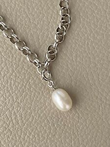 925 Sterling Silver  White Drop Rice Pearl Clip-on Charm 11 x 8mm Pearls