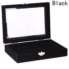Jewelry Velvet Wood Ring Display Organizer Box Holder Earrings Storage Case New
