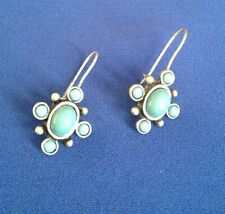 VINTAGE AVON STAMPED SILVER PLATED FAUX TURQUOISE EARRINGS