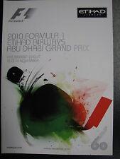 Program 2010 Formula 1 Etihad Airways Abu Dhabi Grand Prix 12-14 November (PBE)