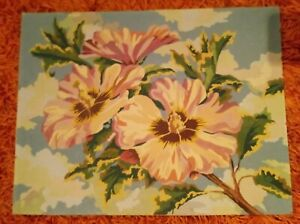 Vintage Paint By Numbers Flowers And Sky 18 x 23
