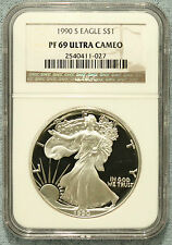 1990 S American Silver Eagle * NGC PF69 Ultra Cameo * No Spots or Toning Lot 671