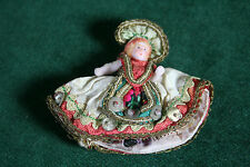 Tiny Antique All Bisque Doll in Costume just 2 inches inc. headdress