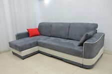 FAUX SUEDE FABRIC IN ALL COLOURS, CORNER SOFA BED ARAMIS, 2 MEN DEL TO ENGL