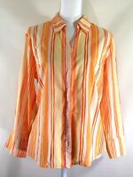 COLDWATER CREEK womens button shirt LARGE orange stripe 3/4 sleeves cotton (H906