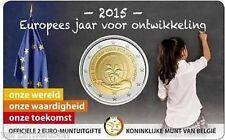 """BELGIE: SPECIALE 2 EURO 2015 """"EUROPEES JAAR VOOR ONTWIKKELING"""" SCHAARSE COINCARD"""