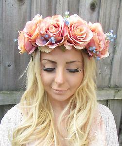 Large Pink Blue Rose Flower Garland Headband Hair Crown Floral Festival Big 1870