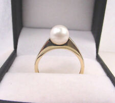 VERY NICE CULTURED SALTWATER PEARL 6.90 mm. 14K GOLD RING ESTATE ITEM