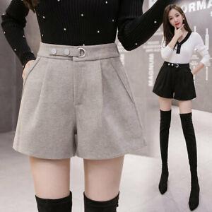 Fashion Winter Women Wool Thick Warm Wide Leg Elastic High Waisted Shorts Pants