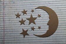 2 Bare chipboard Tim Holtz crescent moon with face and 18 star die cuts moon