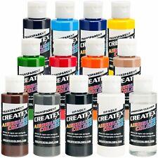 Createx 12 Color Transparent Airbrush Paint Set 2 oz Bottles (12 colors+cleaner)