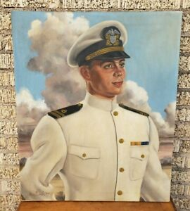 Leo Nowak Original Painting Oil on Canvas Navy Officer 1944 Superman Illustrator