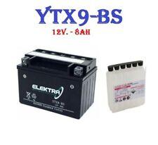 YTX9-BS BATTERIA MOTO ELEKTRA  MOTOR  = YUASA YTX9-BS 12V 8Ah + ACIDO INCLUSO